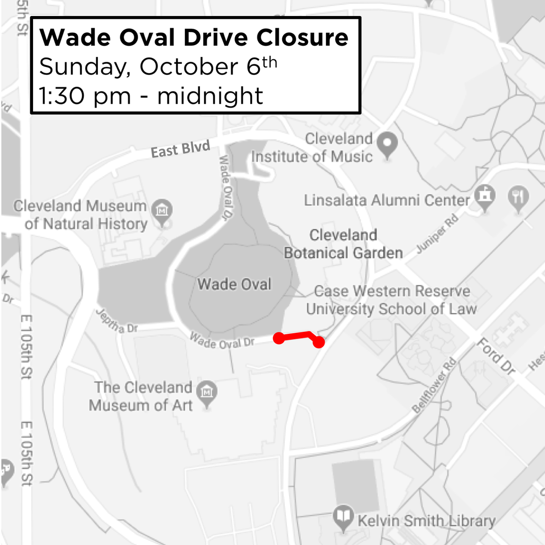 Wade Oval Drive Closure this Sunday